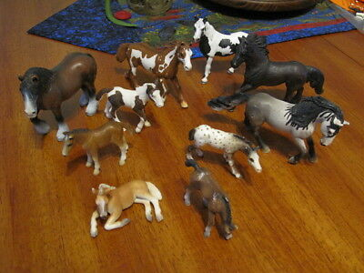 Schleich Horses Lot 10 Horses and Foals Colts Various Sizes