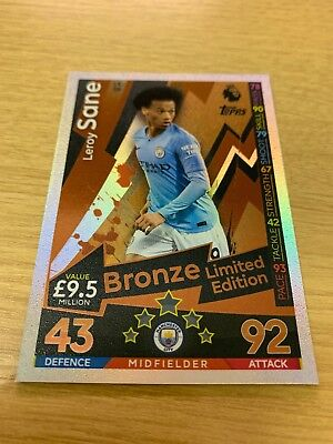 Soccer Cards Match Attax 2018/2019 18/19  LE3B LEROY SANE LE3B LIMITED BRONZE CARD BY TOPPS .