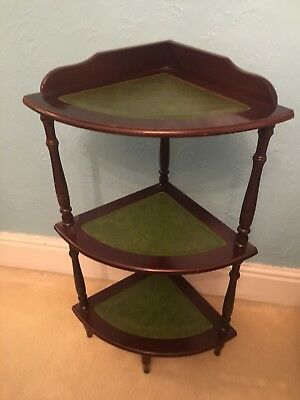 Vintage Mahogany & Leather 3 Tier Corner What Not Plant Stand Display Lovely Con