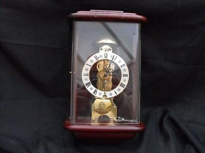 Old Brass Skeleton Wall Clock With Bell Strikes The Hour German Made