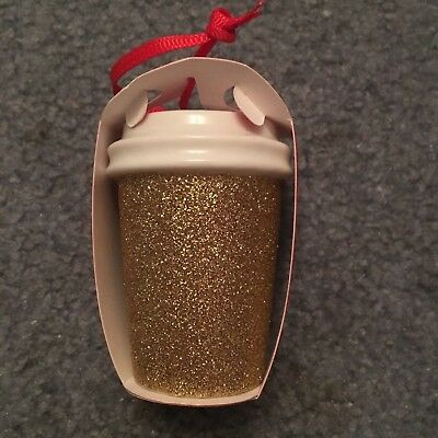 Starbucks Ornament 2018 Holiday Gold Glitter Coffee Cup Christmas New