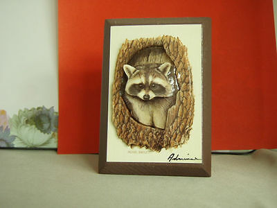 Pair of Vintage Clothespins with Glossy Paper Constructed Raccoons - Interesting