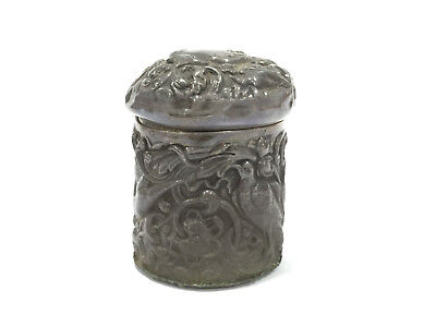 Antique Sterling Bird Jar Can Tin Vanity Toiletry Repousse Tea Caddy