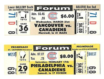 2 Historic Canadiens Hockey Tickets Mahovlich 500th Goal & 1000th Point Game