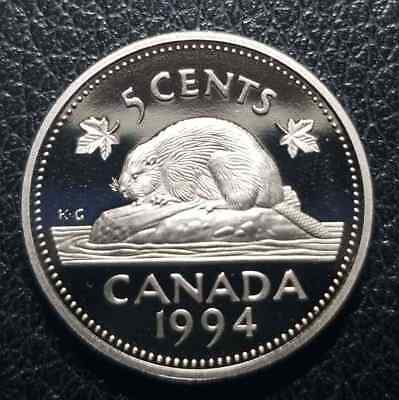 1994 5 Cent Canada Proof - Heavy Cameo - From Mint Set