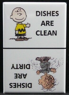 "Charlie Brown & Pigpen Clean / Dirty Dishwasher Magnet 2"" x 3"". Peanuts Original"
