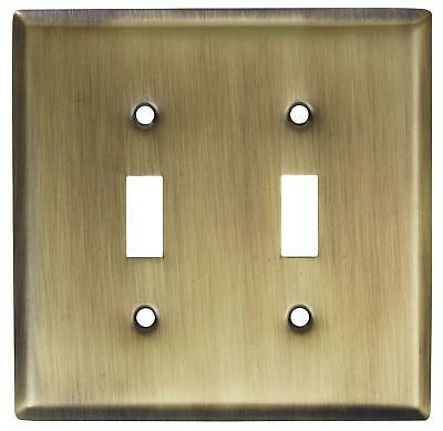 Stanley Hardware Double Switch Plate in Antique Brass