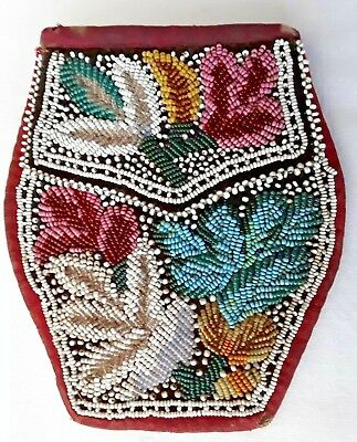 Antique Native American Beaded Bag Pouch Purse
