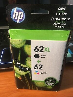 HP 62XL Combo Ink Cartridges 62 Black & Color NEW GENUINE