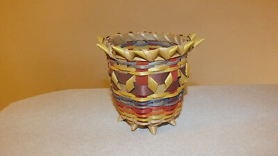 Colorful Ho-Chunk Black Ash Basket - Winnebago