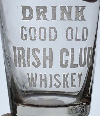 2 Antique Singer Bros. Irish Club Whiskey Pre-Prohibition Shot Glass Kansas City