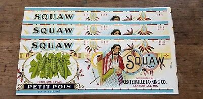 Old Vintage Antique Squaw Peas Labels Lot of 3 New Old Stock