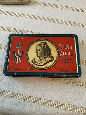 Antique Boer War South Africa Candy Tin Advertisment Queen Victoria 1900 NR!
