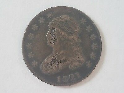 1821 Bust Capped Head Quarter 25 c. Great detail, 13 stars