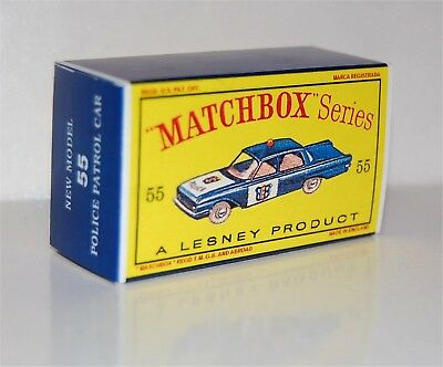 Matchbox Lesney 55 FORD FAIRLANE POLICE CAR Repro  Box  style D