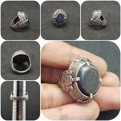 Unique Roman Ancient Solid Silver Ring With Banded Eye Agate #12Z
