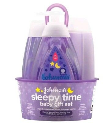 Johnson's Sleepy Time Relaxing Baby 4 pc. Gift Set Wash Lotion Shampoo Lavender