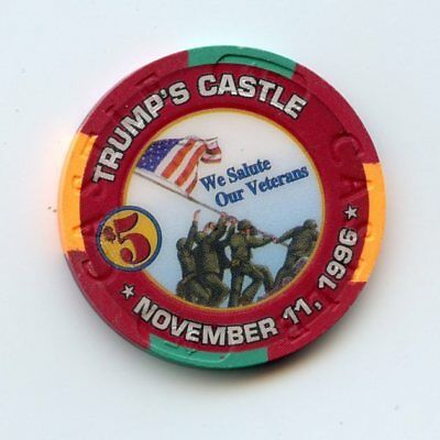 5.00 Chip from the Trump Castle Casino Atlantic City New Jersey Vet Day
