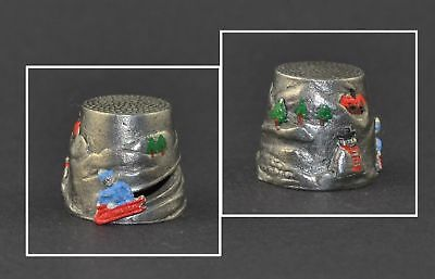 Pewter Hand Painted Winter Thimble