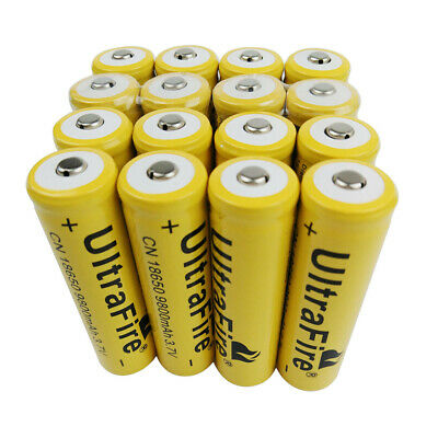 16pcs UltraFire 3.7V Battery 18650 9800mAh Li-ion Rechargeable for Flashlight