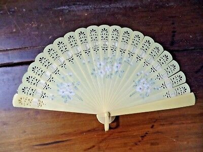 "11"" Vintage Folding Hand Fan Plastic Yellow w White Flowers (Ivory Color) Asian"