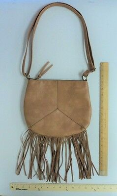 Women's TAN BROWN Cross Body Tote Purse Hand Bag Satchel Style FRINGE