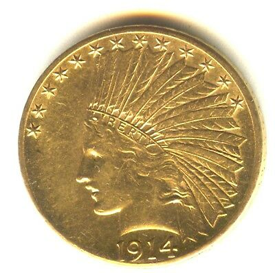 1914 D $10 Indian Gold Lustrous AU++ Scarce Denver Mint Issue