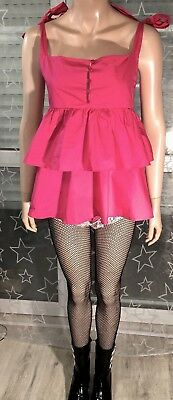 Volant Stufen Baby Doll Top Pink Rosa L 42 Rüschen Sissy Cosplay Zofe Maid Adult