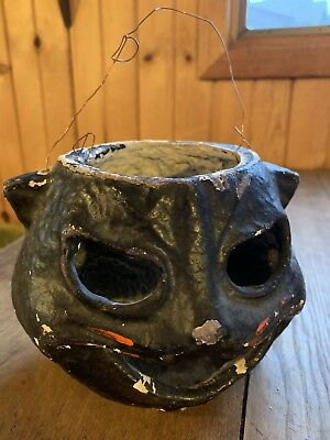 "VINTAGE ANTIQUE PAPER MACHE BLACK HALLOWEEN CAT 1940s 5"" LANTERN NR!"