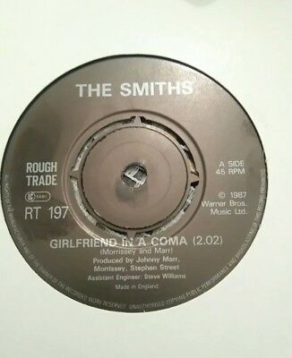 "THE SMITHS - 7"" Vinyl - Girlfriend in a Coma / Work is a Four - 1987 - RT 197"
