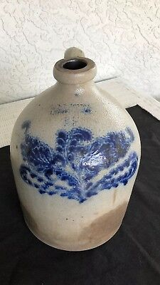 "ANTIQUE NORTON Bennington Vermont Cobalt Blue Decorated Stoneware Handle 12"" Jug"