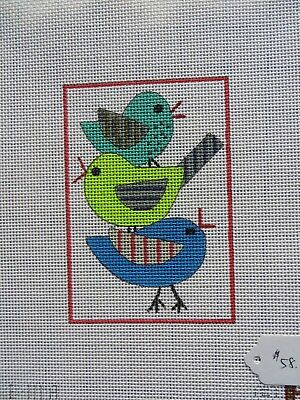 "Handpainted Needlepoint Canvas ""Birds"""