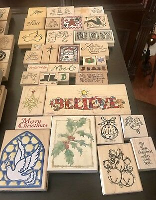 Lot Of 34 New & Used Christmas Rubber Stamps - Mixed Brands