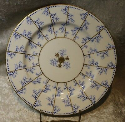Coalport England Dinner Plate-Gold Spokes w/Blue Tree Branches and Dots