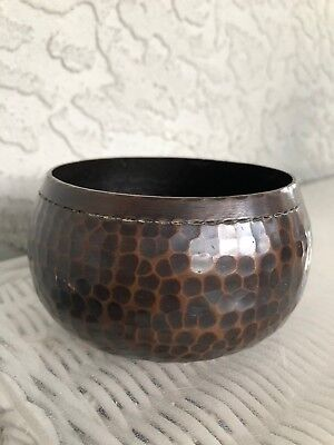 ANTIQUE ROYCROFT ARTS & CRAFTS hand Hammered COPPER signed BOWL