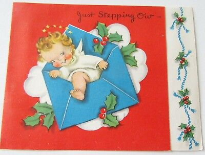 Used Vtg Christmas Card Cute Angel Stepping out of Envelope with Holly & Berries