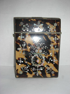 Stunning Victorian Decorated Faux Tortoiseshell + Mop Card Case. With Contents.