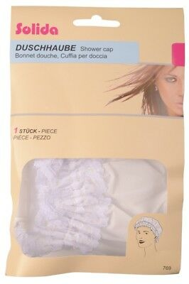Solida Shower Cap with Lace, White