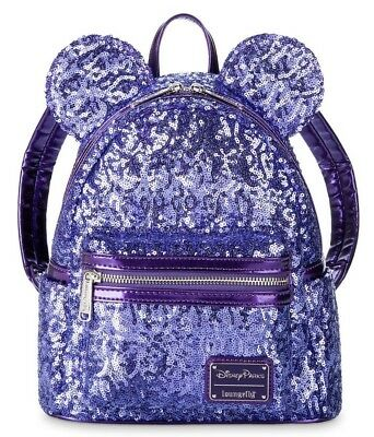 2019 Disney Parks Minnie Mouse Purple Potion Sequined LOUNGEFLY Backpack