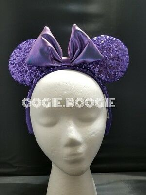 Disney Parks Purple Potion Iridescent Bow Sequin Minnie Ears Headband ADULT
