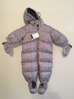 GAP Baby Snowsuit 0-6 Months Fleece Lined Hooded Grey Unisex NEW W TAGS