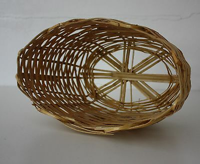 Vintage Woven Bamboo Basket, Oval Shape with Star Design on Base