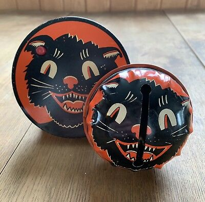 2-Vintage Antique Kirchhof Tin Litho Black Cat Halloween Noise Makers Nice!