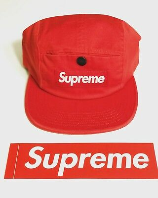 0c62481d SUPREME FW18 Snap Button Pocket Camp Cap Red Sticker Trusted Seller! Fast  Ship