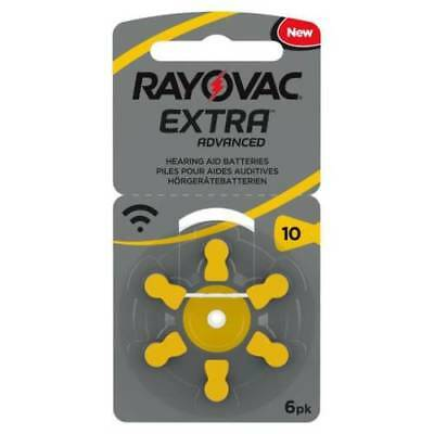 6 cell Rayovac Extra Mercury Free Hearing Aid Batteries Size 10 - Fast Post