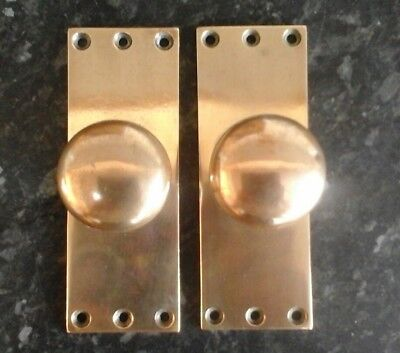 One Pair Of Salvaged Victorian Solid Brass Door Knobs Handles On  Backplates