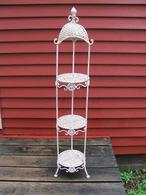 "VINTAGE WICKER WHITE 3 TIER PLANT STAND FLAKING PAINT SHABBY CHIC 43 3/4"" Tall"