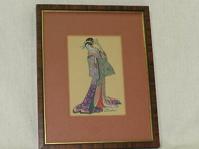 """Vintage Framed Miniature Woven Silk Picture by Cash of Japanese Woman """"Eishi """""""