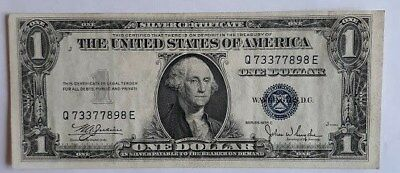 1935 C- ONE DOLLAR SILVER CERTIFICATE W/BLUE SEAL, CIRCULATED  Nice