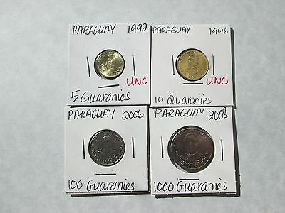 INV # CS2019:  PARAGUAY   4 coins, 1992-2008, circ-unc, no dups, carded